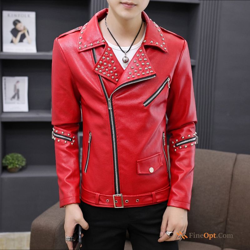 Men's Skinny Europe Red Spring Pu Handsome Leather Jacket Sale