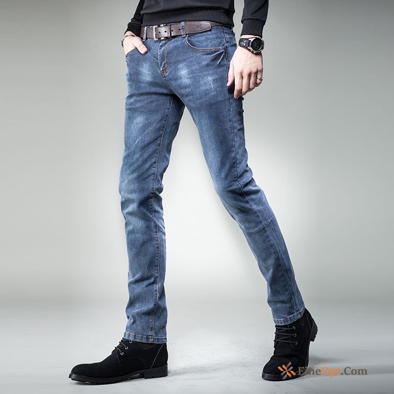 Men's Slim Jeans Retro Trousers Spring Straight Discount