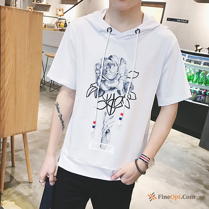 Men's Slim Leisure Personality Summer Shorts Hooded T-shirts