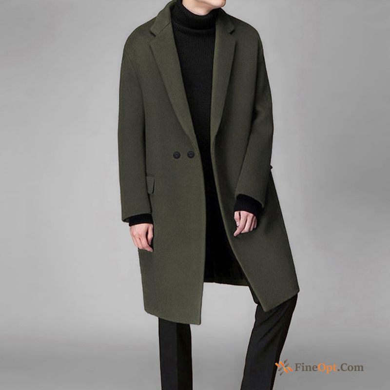 Military Green Loose Winter Youth Double Breasted Overcoat Wollen Fabric Coat For Sale