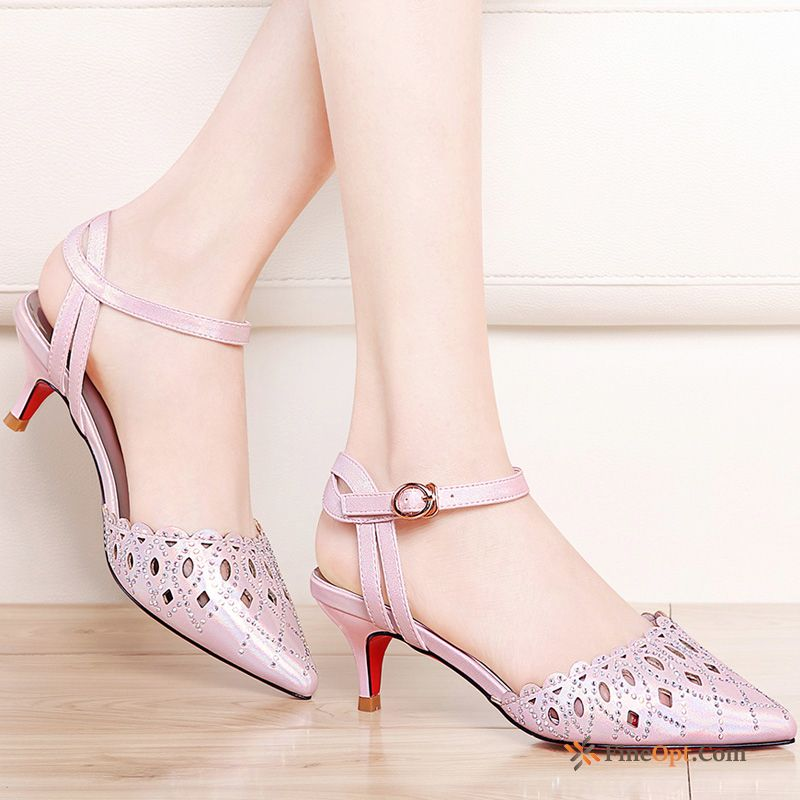 eabc43a9e23 New All-match High Heels Sandals Thin Heels Mid Heel Pointed Toe Sandals