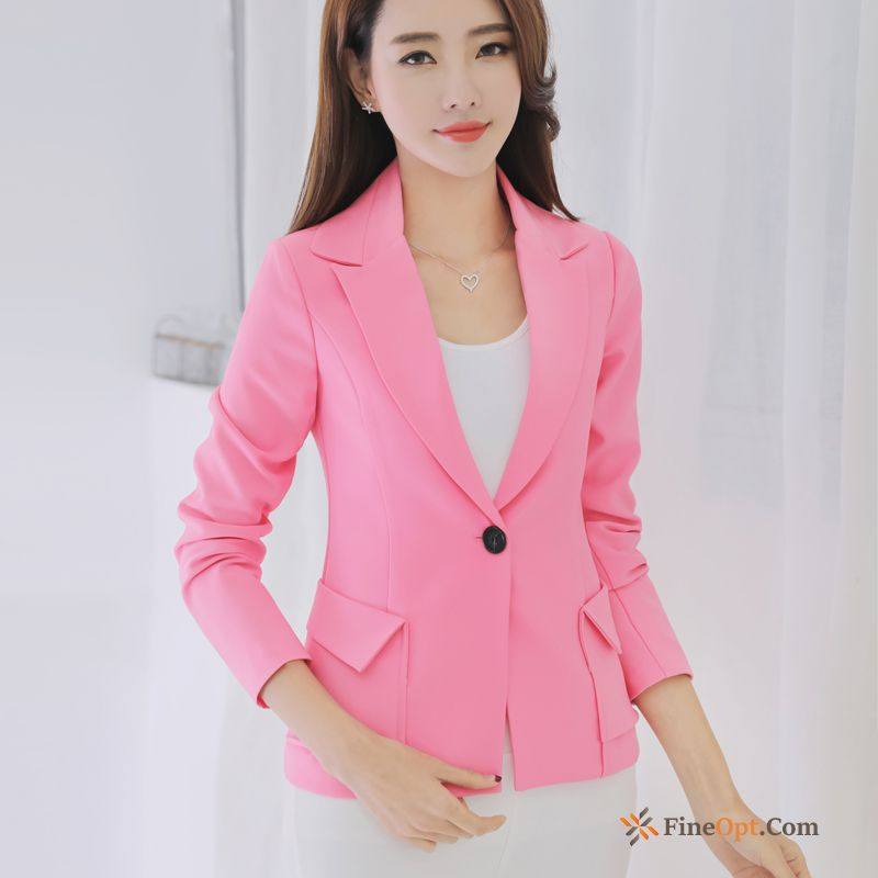New Autumn Leisure Suit Pink Coat Europe Winered Blazer