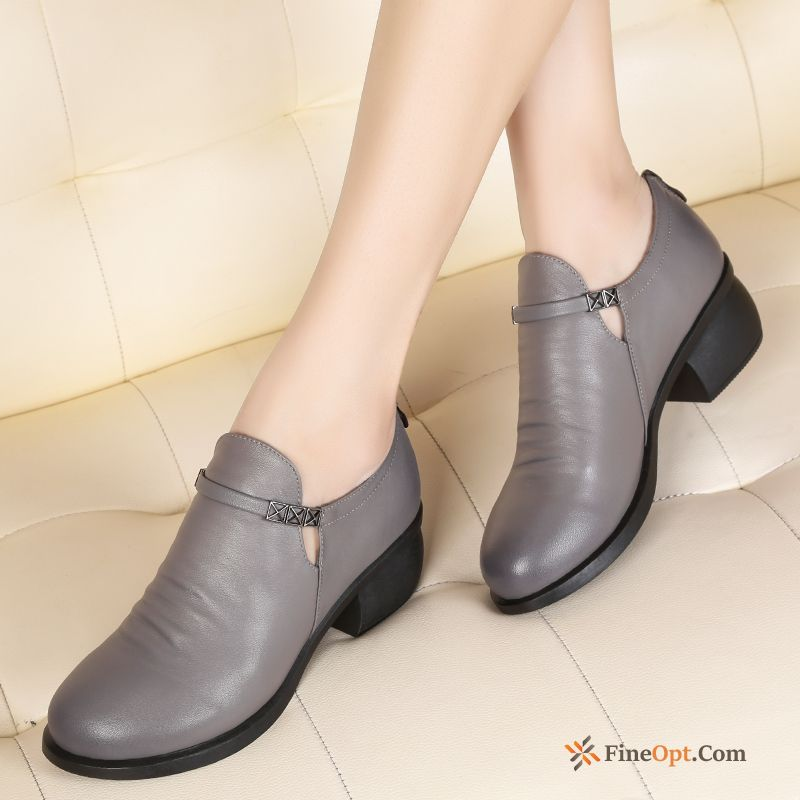 New British Spring Genuine Leather Leather Shoes Thick Deep Rubine Online
