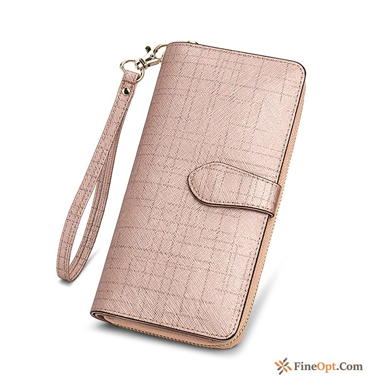 New Clutch Bag Pink High Capacity Beef Leather Women Wallet Wallets For Sale