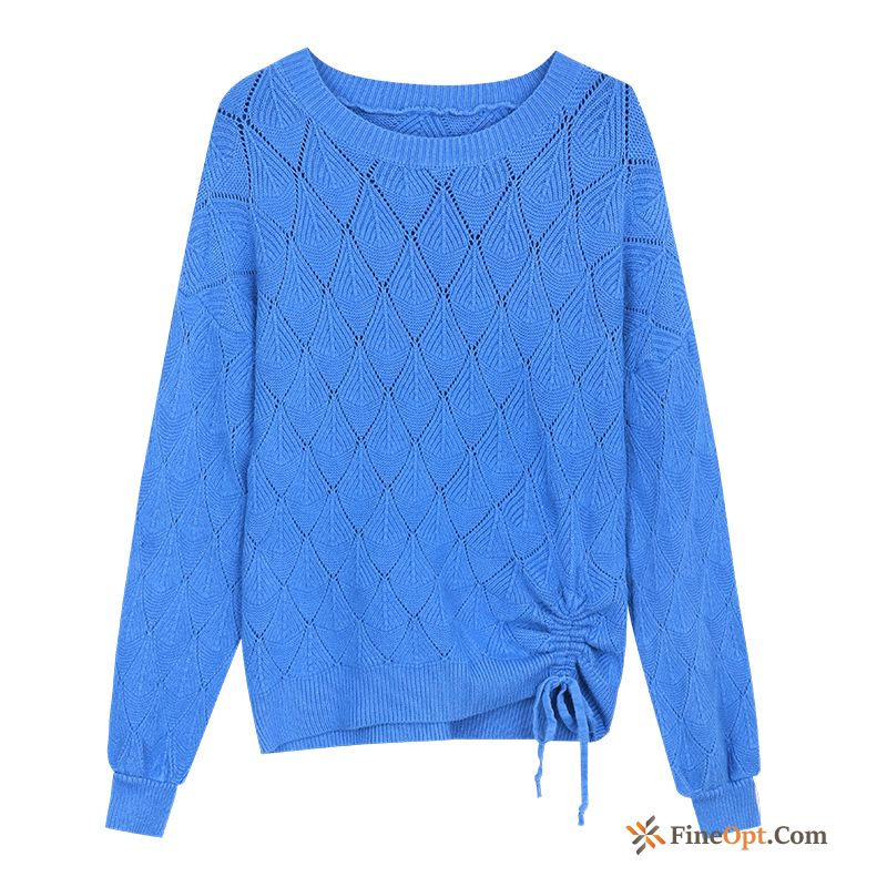 New Coat Autumn Skinny Long Sleeves Blue Sweater