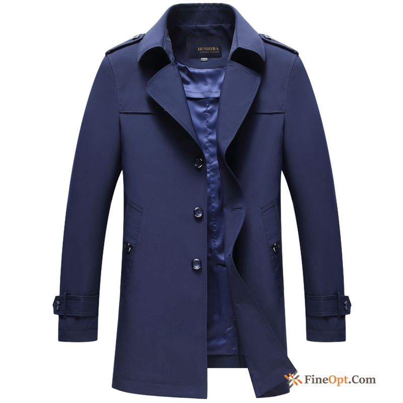 New Coat Men's Skinny Large Size Lapel Long Khaki Coat