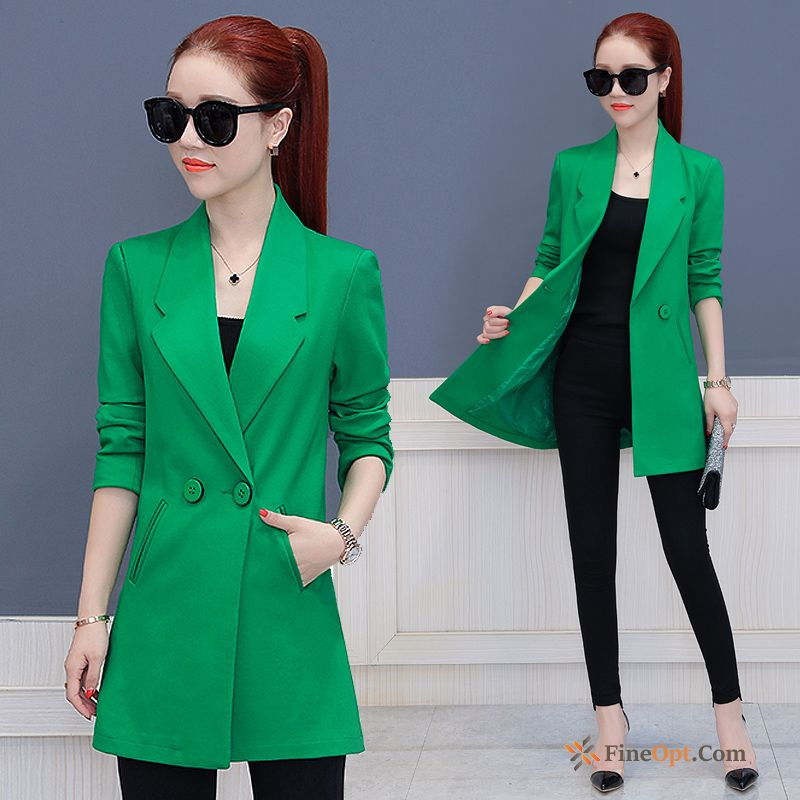 New Coat Thin Europe Long Sleeves Spring Long Snowy White Blazer Online