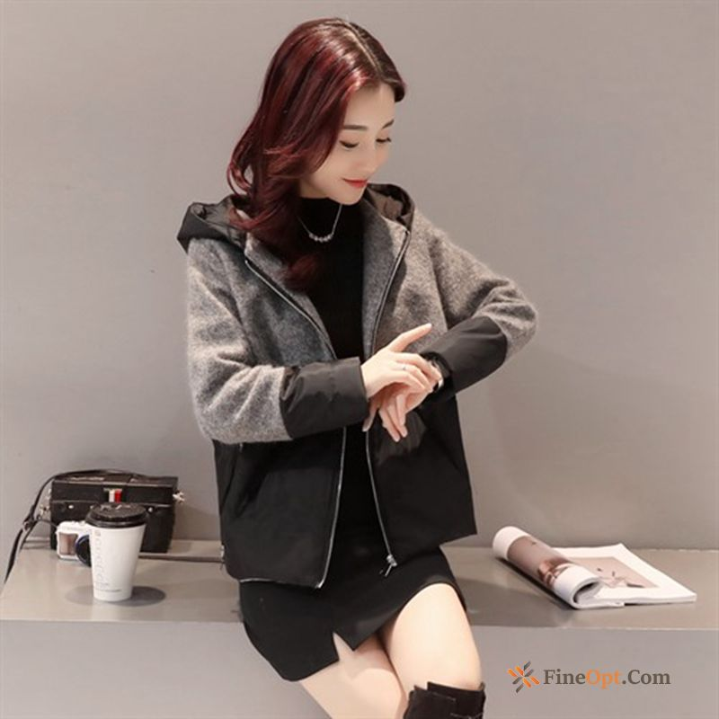 New Cotton Contrast Color Trend Cotton-padded Woolen Short Jacket For Sale
