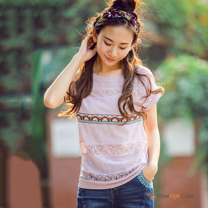 New Embroidery Coat Shorts Lace Round Neck Sleeve T-shirts Discount