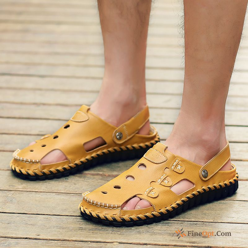 New Genuine Leather Causal Shoes Sandals Men's Beach Trend Sallow Sandals Sale