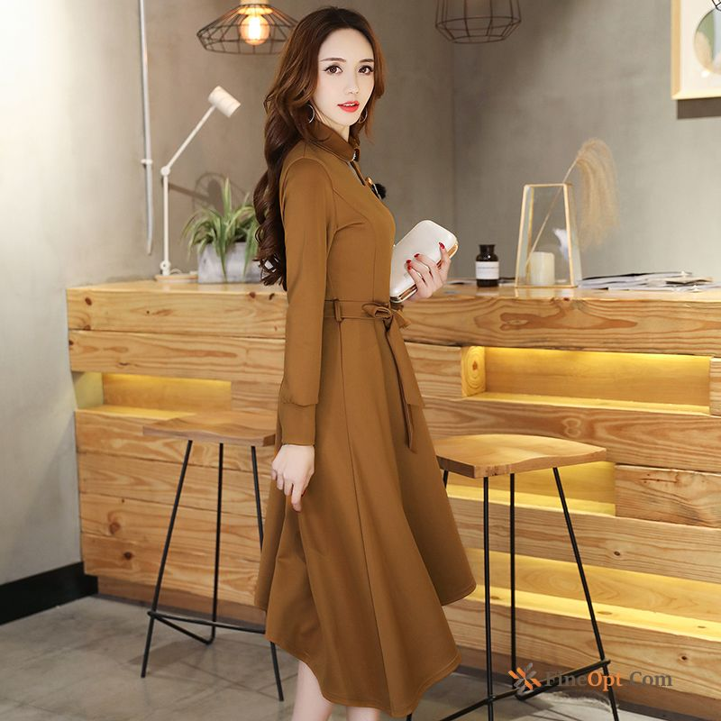 New Irregular Long Temperament Ladies Spring Skirt Darkkhaki Dress
