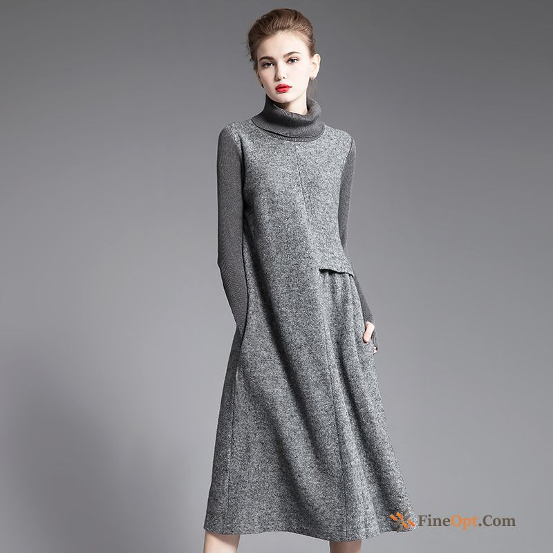 New Leggings Wollen Fabric Thin Long Autumn Winter Silver White Dress
