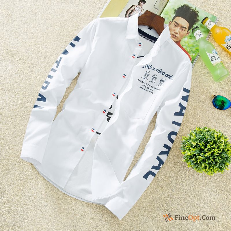 New Men's All-match Europe Fashion Long Sleeves Shirt Snowy White Shirts Online