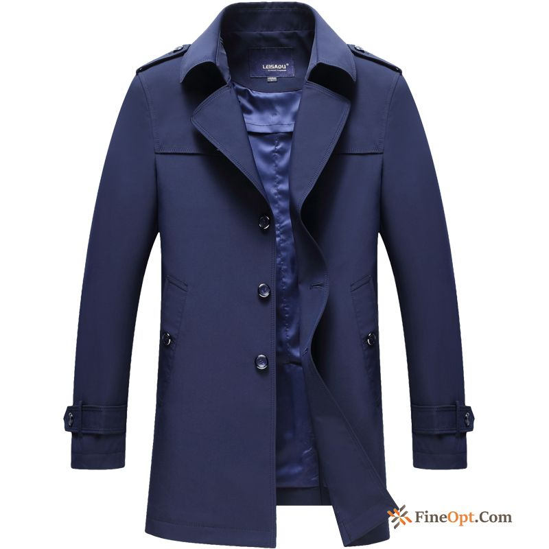 New Men's Overcoat Long Skinny Lapel Youth Coat Sale