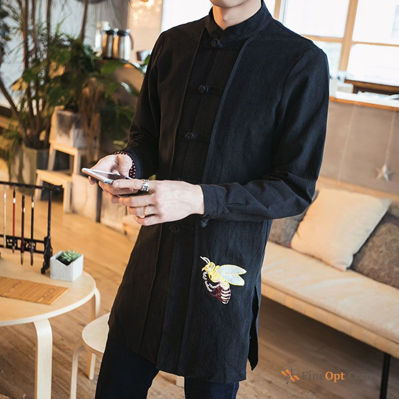 New Men's Trend Embroidery Shirt Chinese Style Spring Shirts For Sale