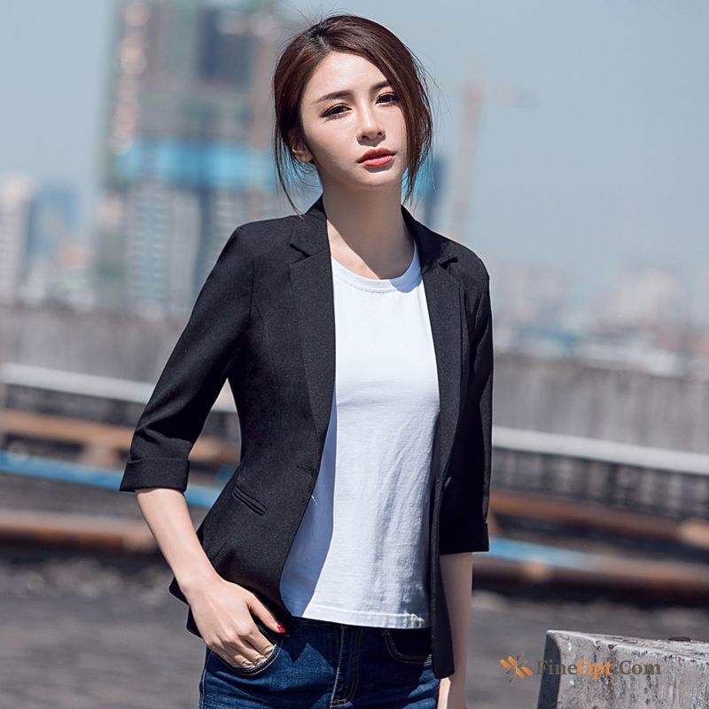 New Professional Sleeve Short Spring Blazer Black Azure