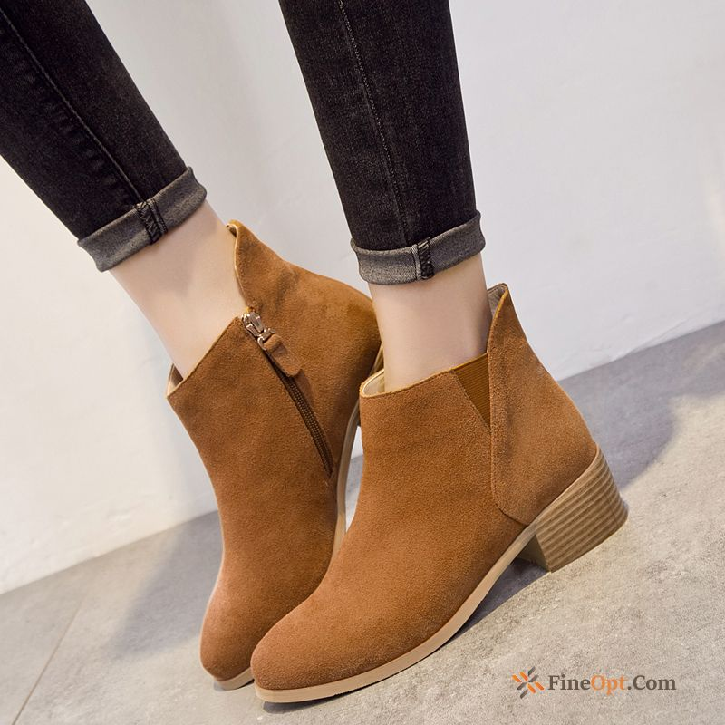 New Short Boots Trend British Winter Flat Boots