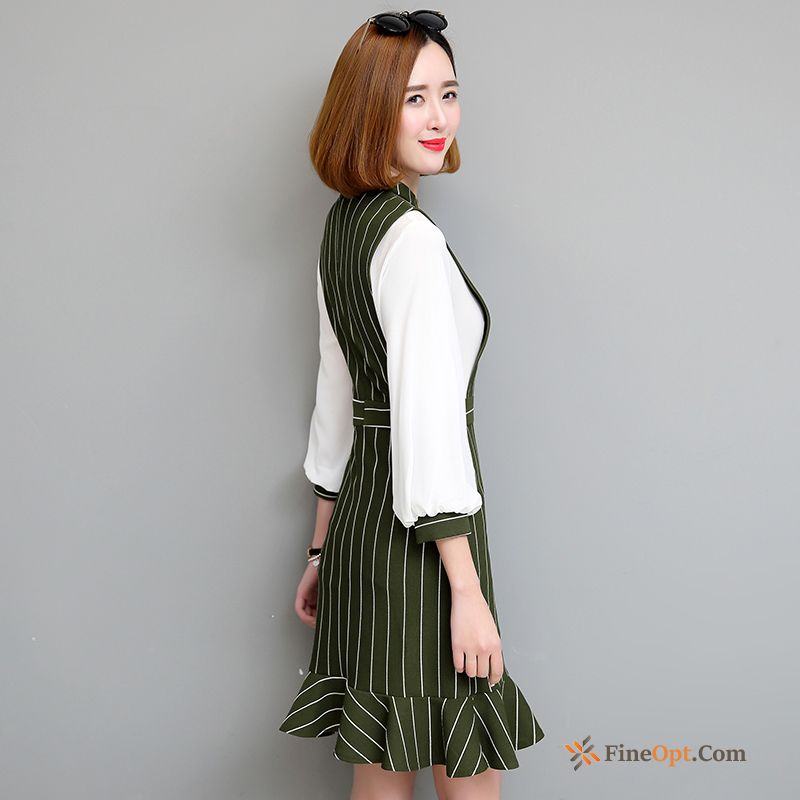 New Sleeve Spring High Waist Thin Stripes Bubble Lawngreen Dress