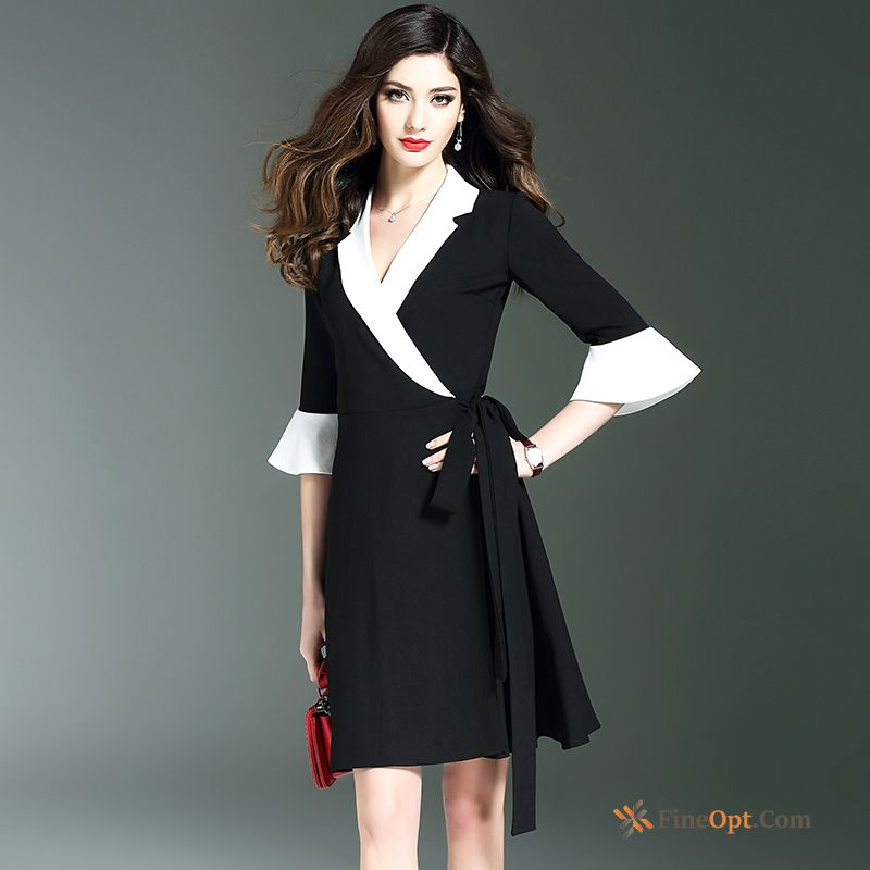 New Spring Horn Black A Letter Thin Ladies Dress Sale