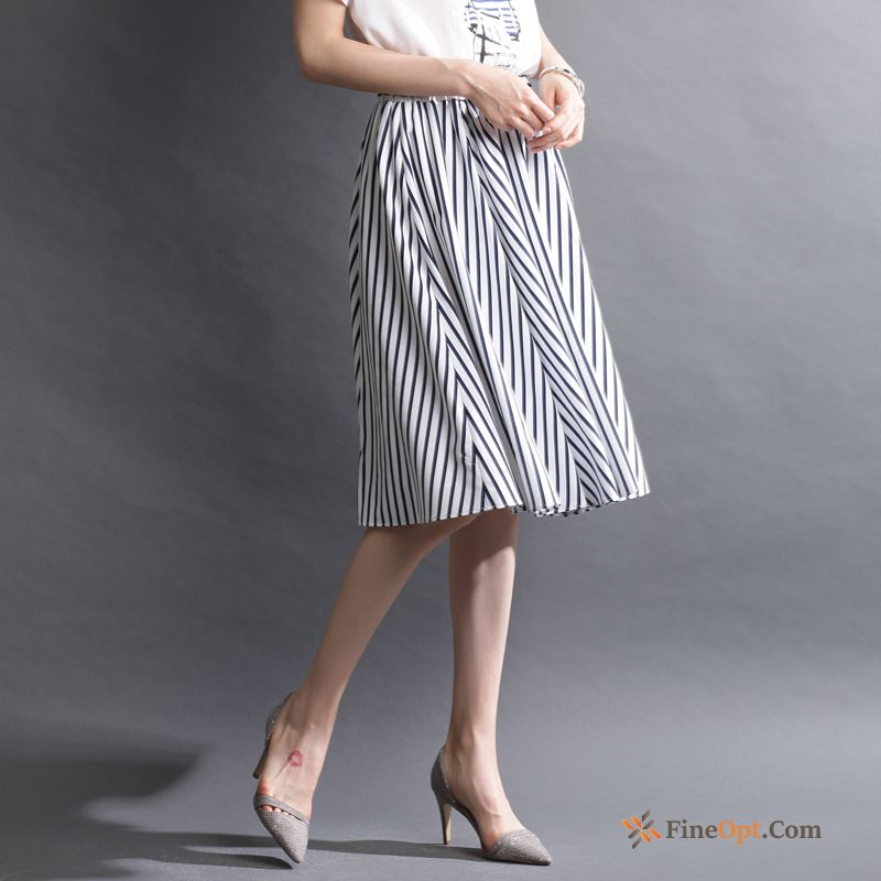New Summer Lady A Letter Long Skirt Pleated Stripes Skirts Online