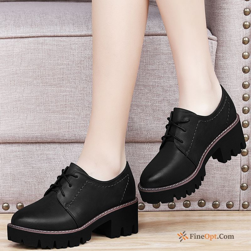 New Thick Spring Leather Shoes All-match Student Pumps Discount