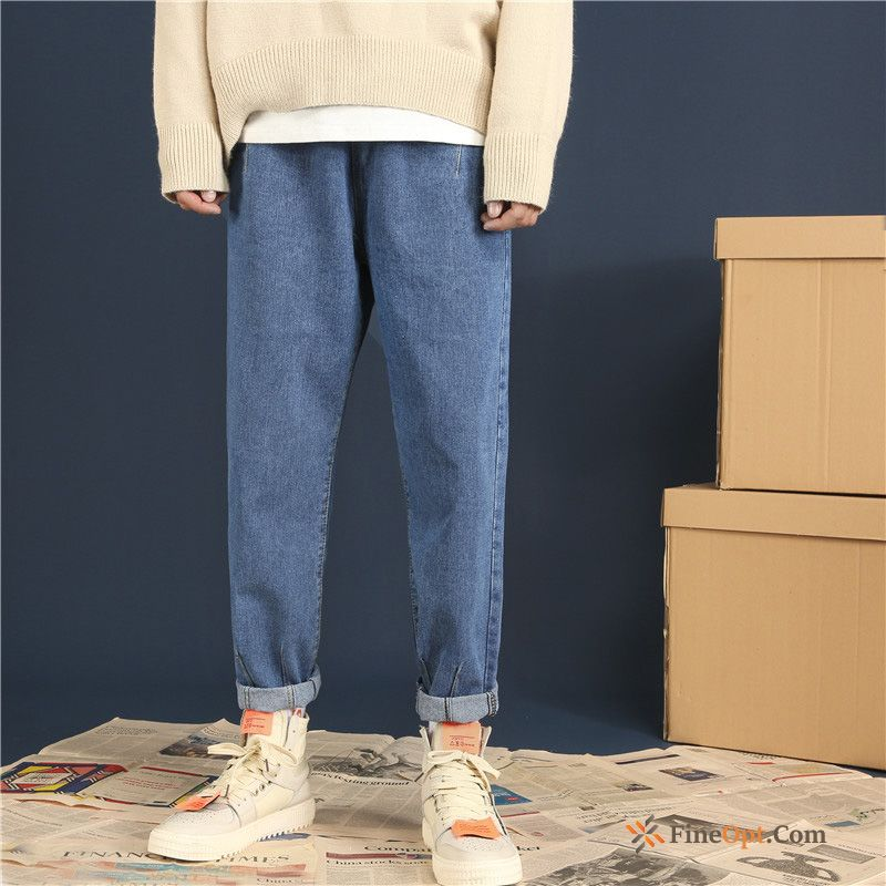Ninth Pants All-match Jeans Loose Trend Blue Straight Gold
