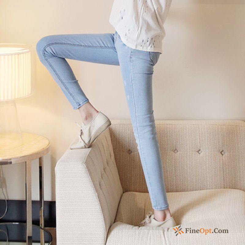 Ninth Pants Spring Jeans Elasticity Black Tight Light Red