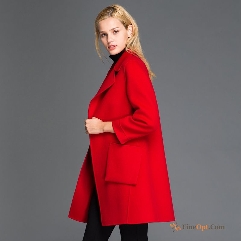Overcoat Long Wool Red New Suit Sided Sky Blue Coat Discount
