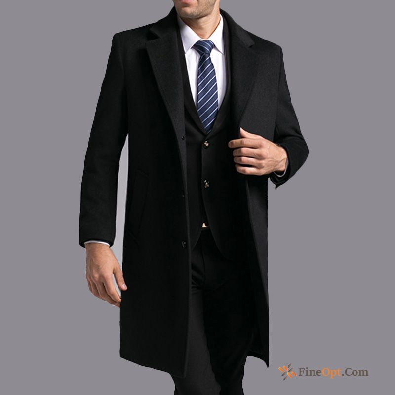 Overcoat Slim Wool Autumn Long Men's Wollen Fabric Olive Green Coat Online
