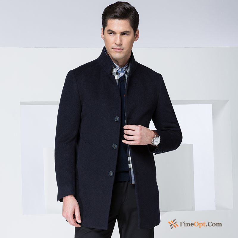 Overcoat Wolf Autumn All-match Men's Detachable Woolen Coat Online