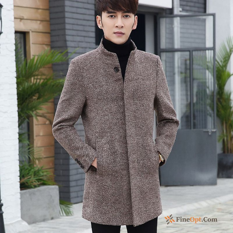 Overcoat Wool Youth Wollen Fabric Long New Slim Modena Coat Online