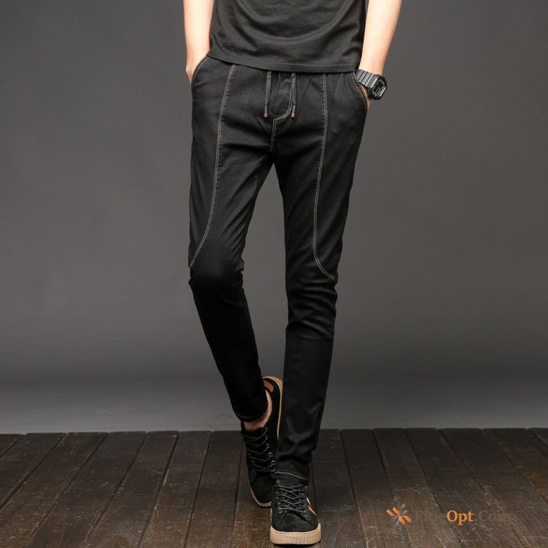 Pants Black Slim Trend Skinny All-match New Misty Gray Jeans For Sale