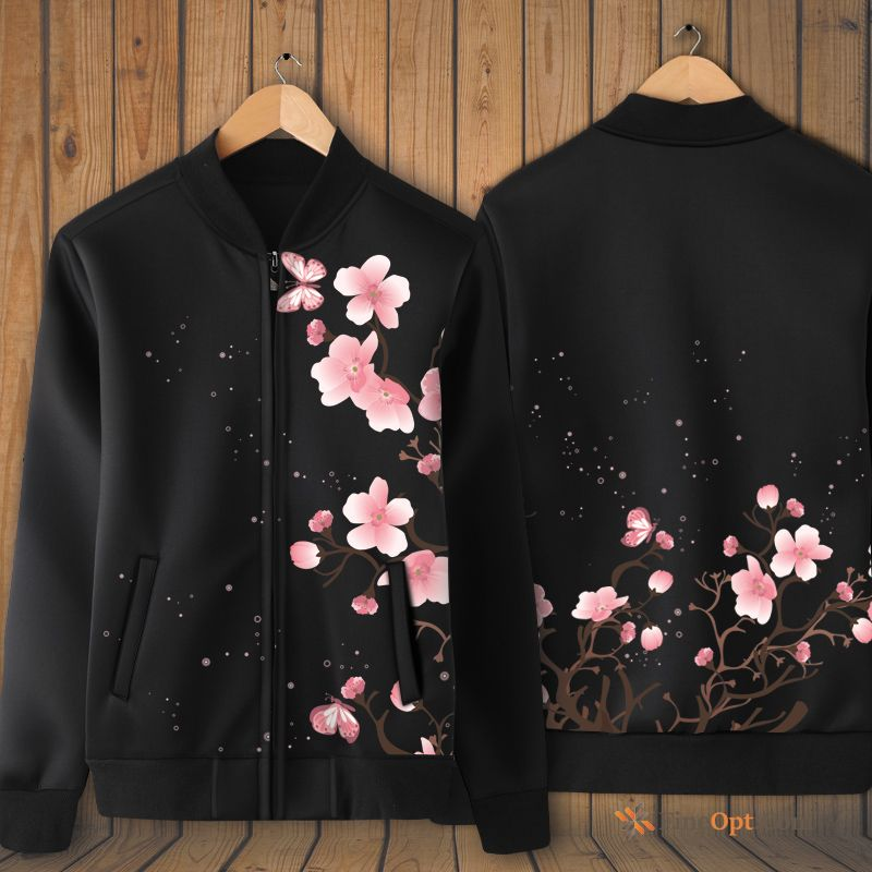Peach Blossom Fresh Large Size Jacket Stand Collar Printing Coat Lake Hoodies
