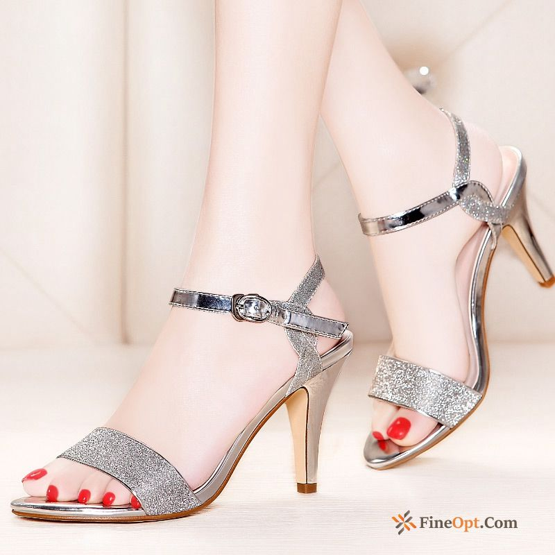 Peep-toe Genuine Leather Thin Heels Summer Open Toe Sandals High Heels Sandals For Sale