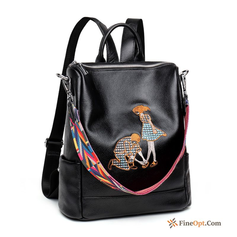 Personality Backpack New Genuine Leather Trend Embroidery Travel Bag Backpack