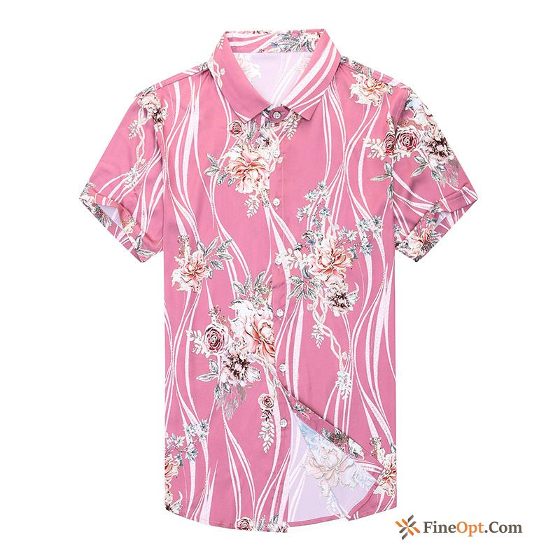 Personality New Fashion Shorts Flowers Shirt Gold Shirts Online
