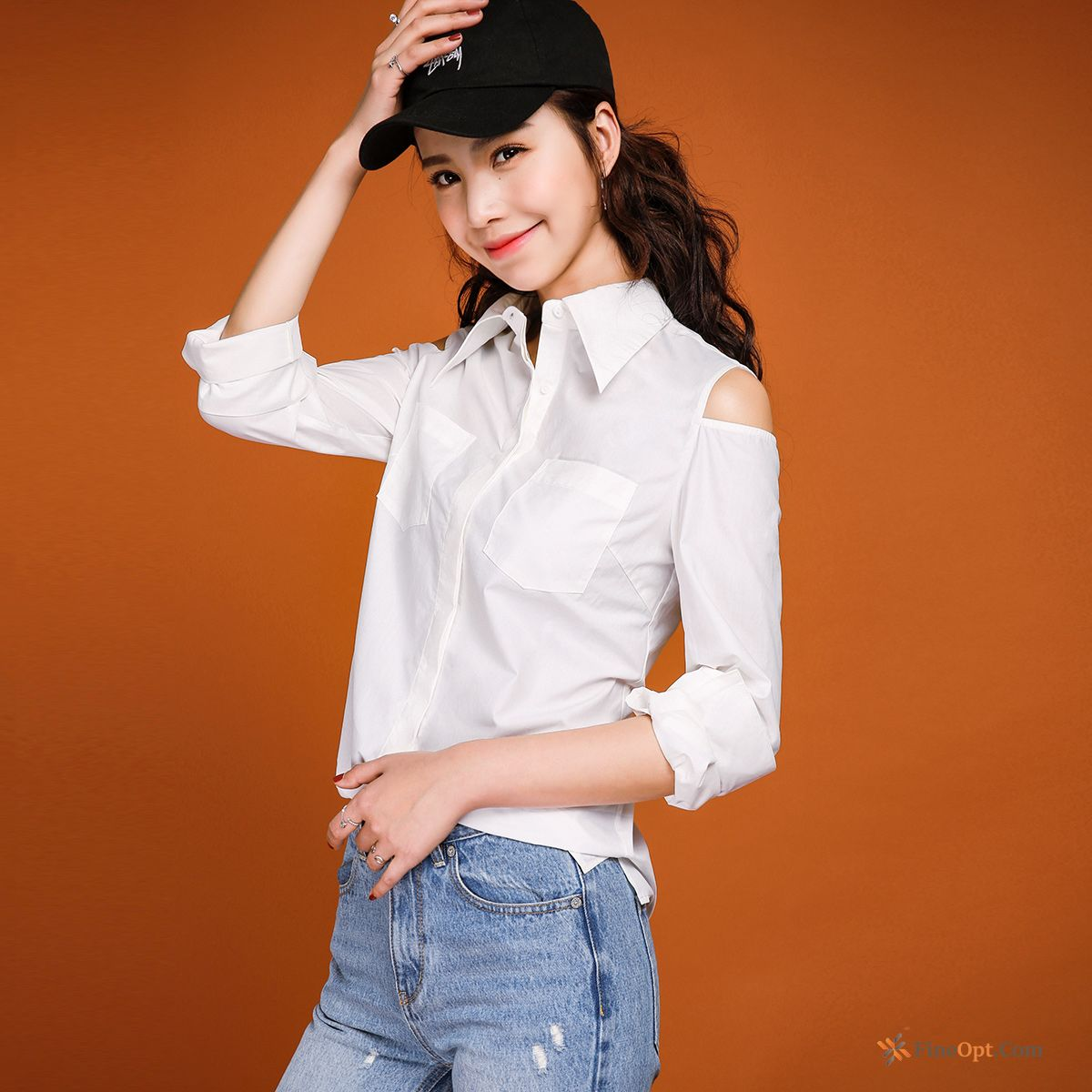 Personality Strapless Blouse Long Sleeves Design Slim Spring Blouse Sale