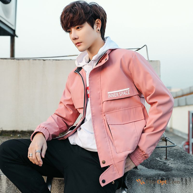 Pink Autumn Spring Men's Cargo Europe Coat Jacket