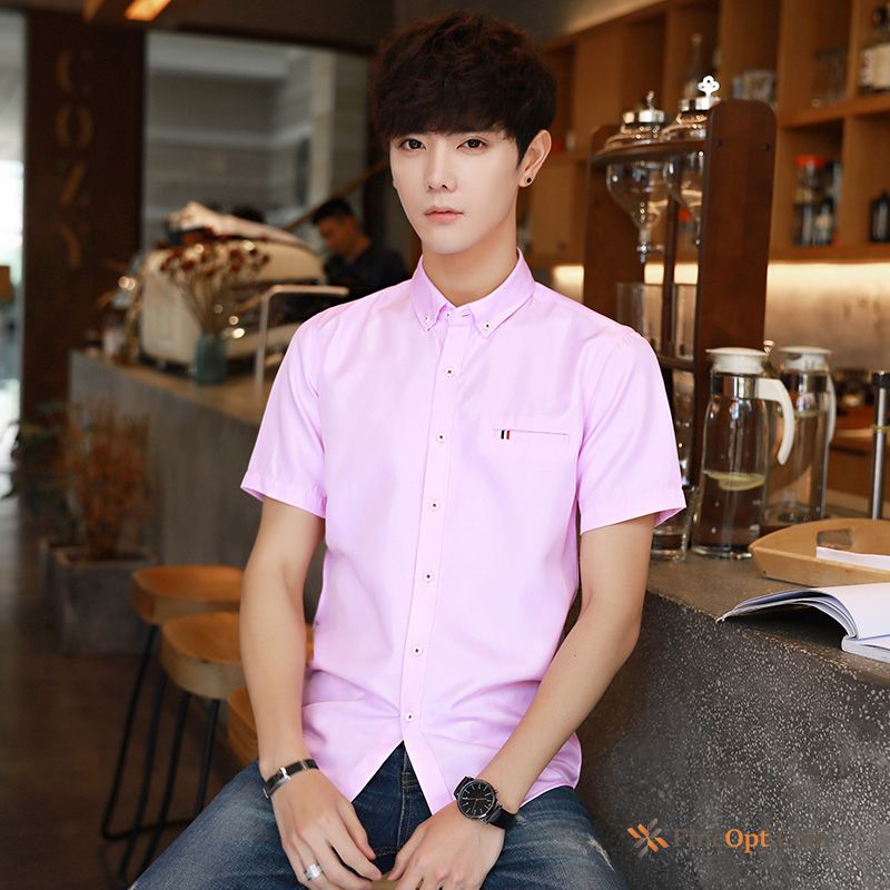 Pink Trend All-match Shorts Red Shirt Slim Shirts Online