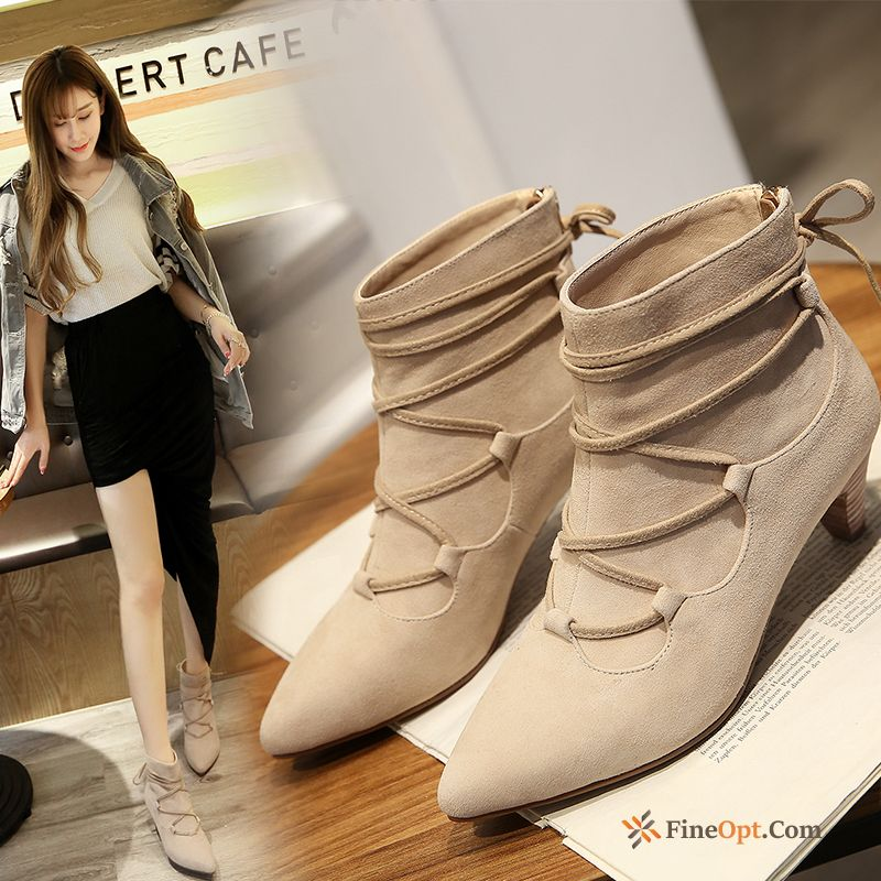 Pointed Toe Autumn Short Boots Genuine Leather Straps Thick Boots Online