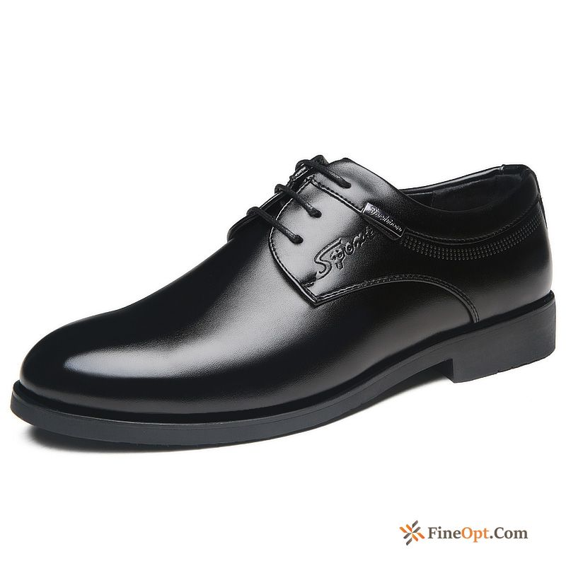 Pointed Toe Business Men's Spring Black Leather Shoes Youth