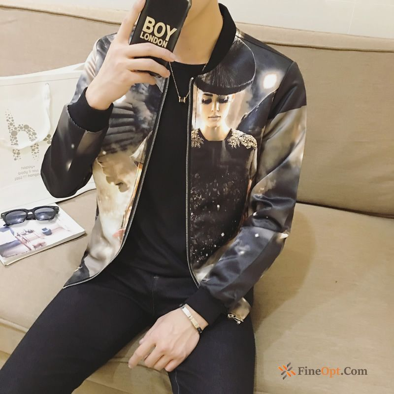 Printing Flower Coat Youth Skinny Trend Autumn Offwhite Jacket