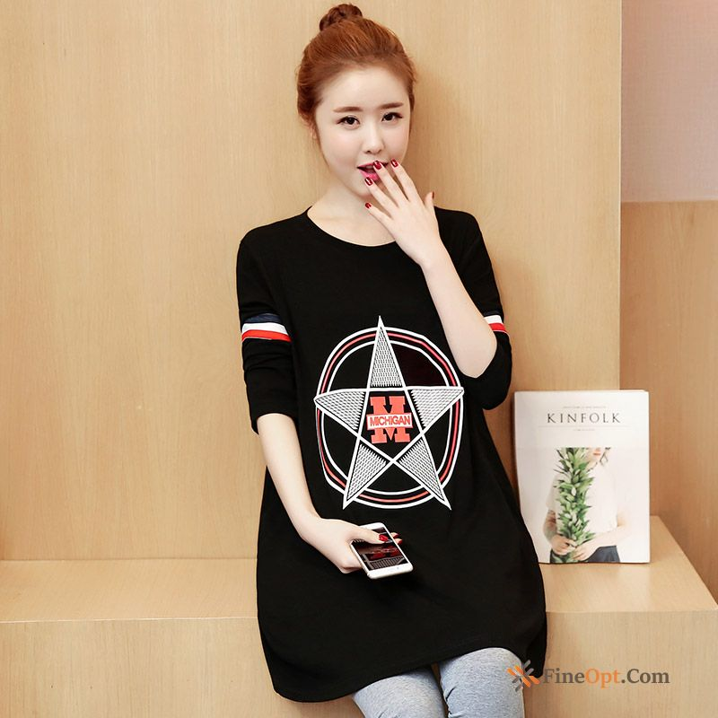 Printing Large Size New Round Neck Spring Long Flower T-shirts