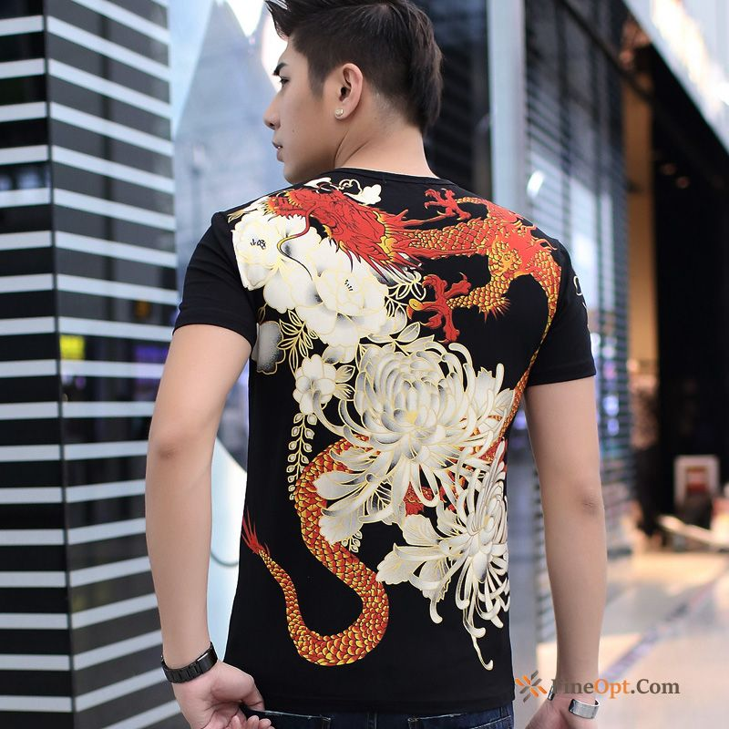 Printing Personality Shorts Sleeve Chinese Style Men's Summer Offwhite T-shirts