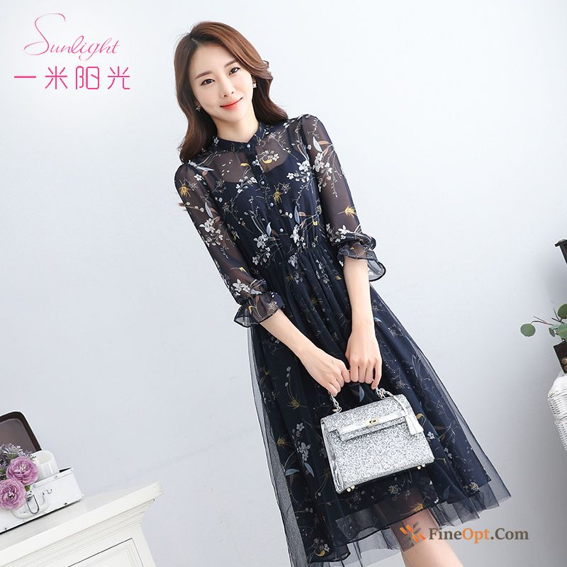 Printing Slim Long Blouse Spring New Chiffon Dress