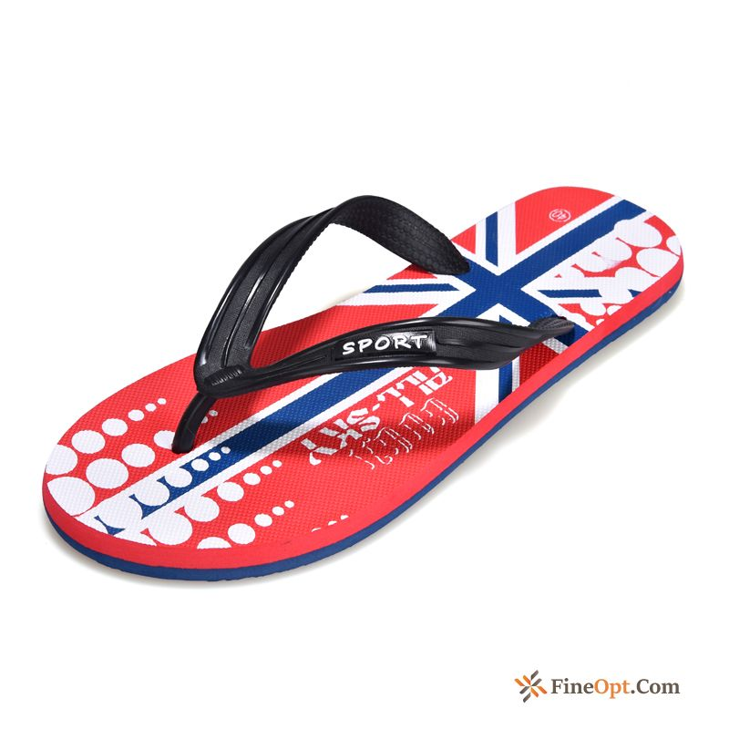 Printing Trend Summer Beach Slippers Youth Men's Blue Green Flip Flops For Sale