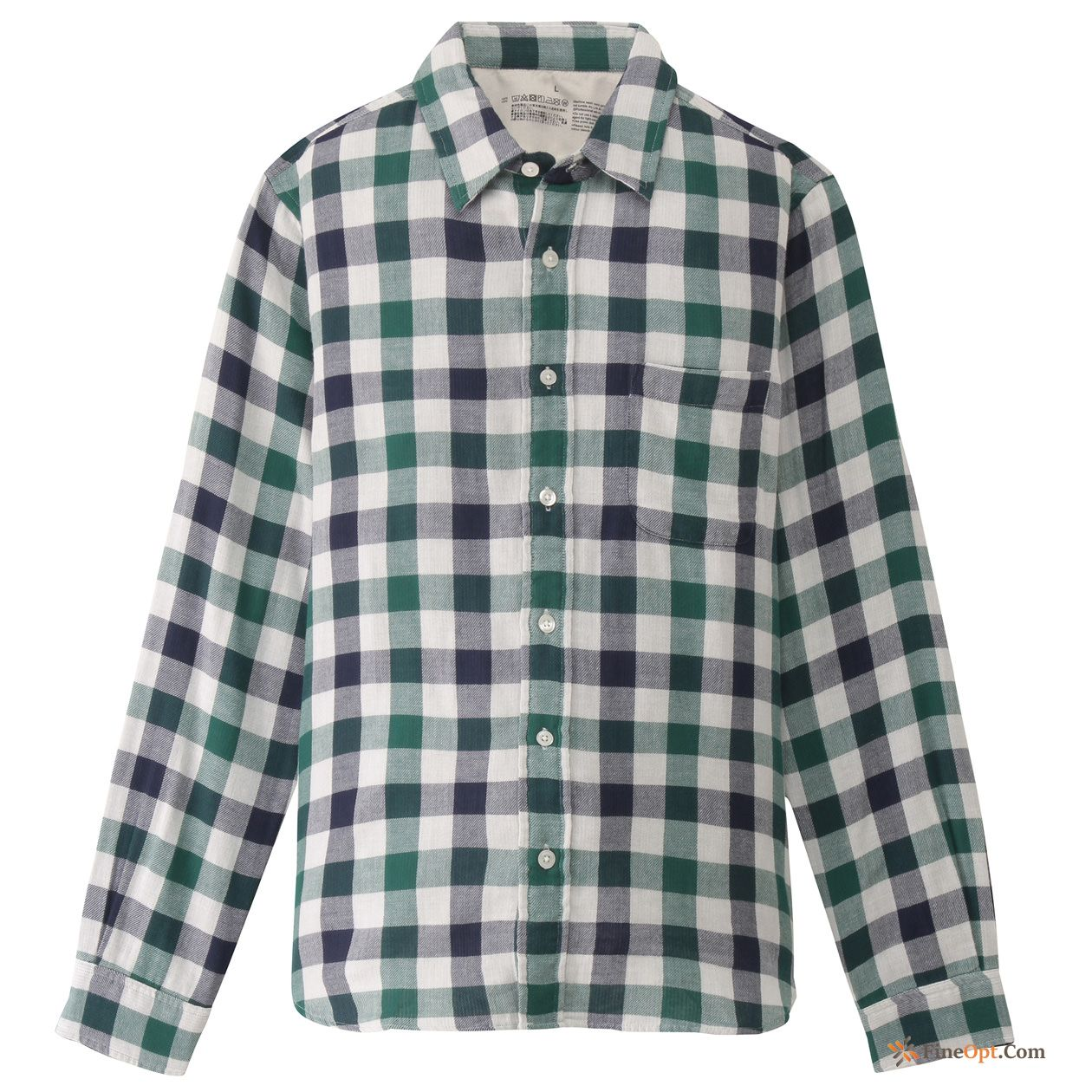 Printing Yarn Cotton Checks Men's Double Layer Shirt Shirts For Sale