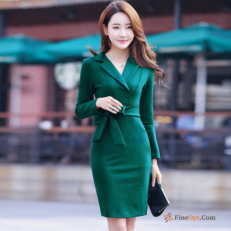 Professional Spring Temperament Long Slim White New Dress Discount