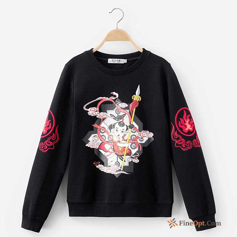 Pullovers Winter Embroidery Hoodies Coat Flower Printing Hoodies