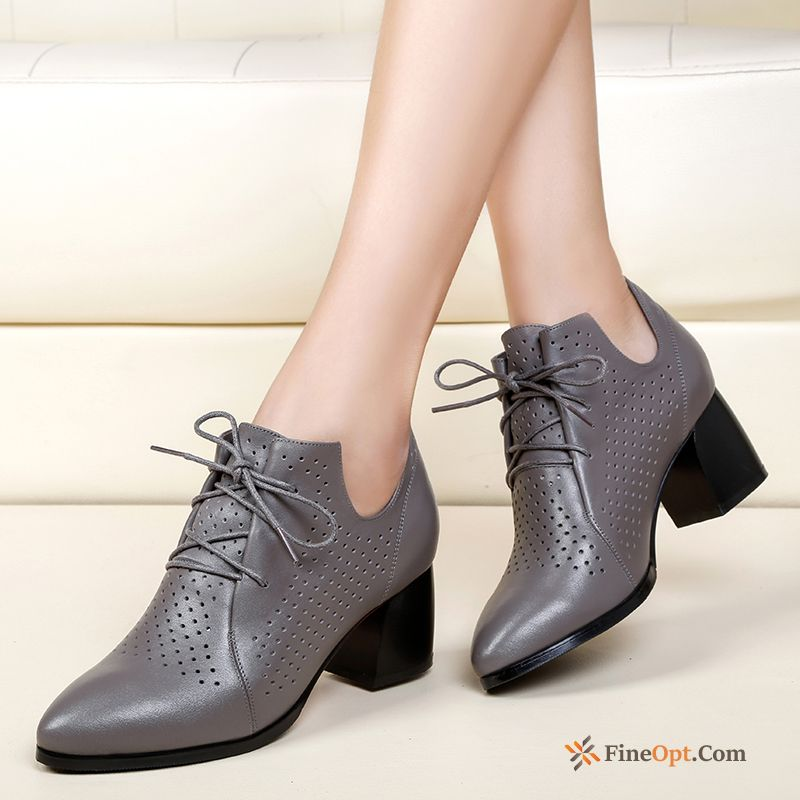 744e673744 Pumps Spring Thick Mid Heel Breathable Hollow Genuine Leather Winered  Leather Shoes Online